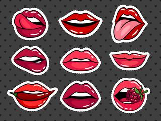 Female lips stickers set