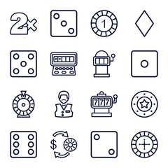 Set of 16 chance outline icons