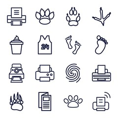 Set of 16 print outline icons