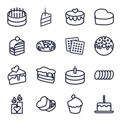 Set of 16 cake outline icons