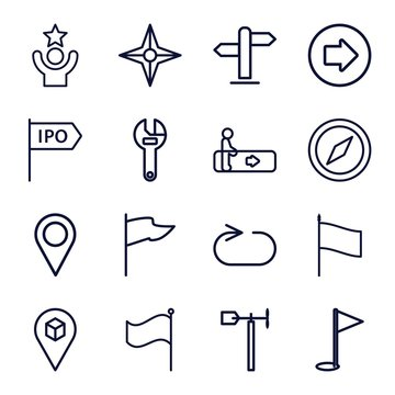 Set of 16 direction outline icons