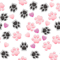 cat and dog paw print with claws