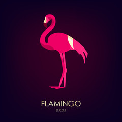 Flamingo vector icon on dark background. Logo. Flat design.