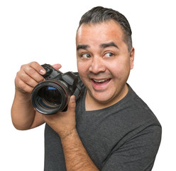 Goofy Hispanic Young Male With DSLR Camera Isolated on a White Background.