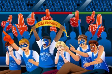 Basketball Fans Cheering Inside Stadium