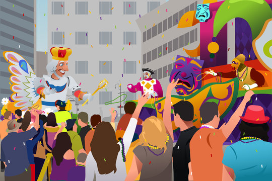 People Celebrating Mardi Gras Festival