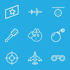 Set of 9 military outline icons