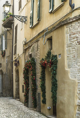 Christmas view from an alley in Grottammare, Marche, Italy