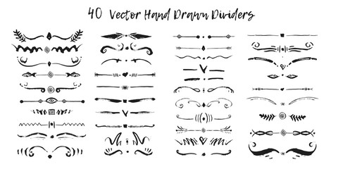 Set of handdrawn divide borders in ink. Swirls and dividers for design. Vector Black stylish border
