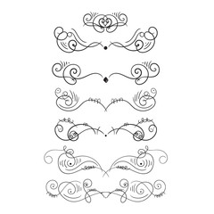 Vintage styled calligraphic flourishes set. Ornate decoration for tattoos