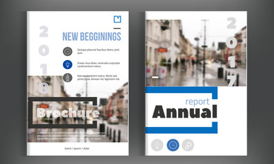 Blue annual report design. Leaflet Brochure Flyer template. design. Simple book cover layout., presentation.
