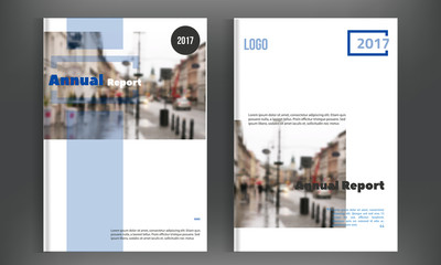 Vector brochure cover template with blurred city landscape. Business brochure cover design, flyer brochure cover, professional corporate brochure cover.