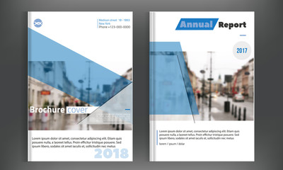 Blue cover set business brochure vector design. Leaflet advertising background with blured city. Modern magazine layout. Annual report for presentation, poster.