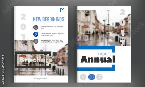 blue annual report design leaflet brochure flyer template design