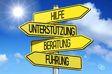 Signpost with four arrows - Hilfe, Unterstutzung, Beratung, Fuhrung (German)/ help, support, advice, guidance (English) - great for topics like customer support etc.