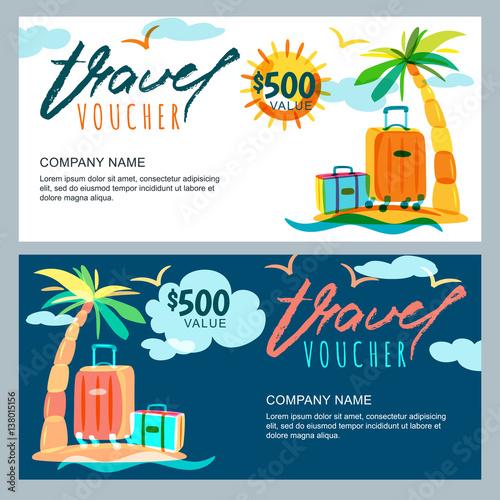 Quot Vector Gift Travel Voucher Template Tropical Island