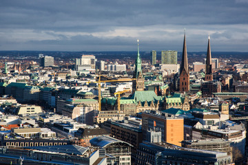 Hamburg (Germany) - Aerial urban skyline from the tower of saint Michaelis church in the Neustadt district in Hamburg