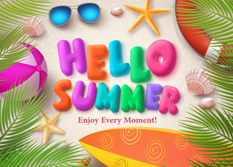Hello summer colorful vector text in banner design with palm leaves, beach ball and starfish in the sand background for seasonal holiday. Vector illustration.