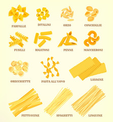 Italian pasta types or sorts vector icons