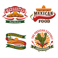 Mexican fast food cuisine vector icons set
