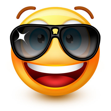 Cute smiley-face emoticon or 3d smiley emoji with dark sunglasses, showing a sense of cool.