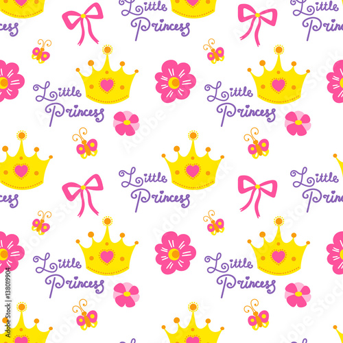 Little Princess Pattern Vector Cute Girl Background For Template