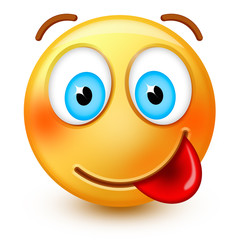 Cute goofy-face emoticon or 3d hungry emoji savouring delicious food.