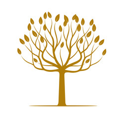 Golden Tree with Leafs. Vector Illustration.
