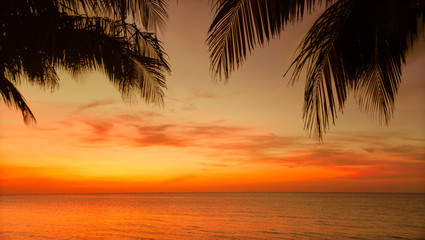Beautiful gorgeous, amazing natural view of tropical sunset time background at Cuban Cayo Coco island