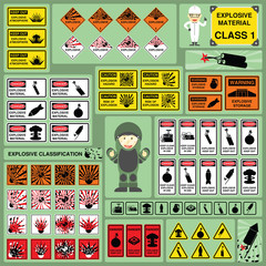 Dangerous Goods and Hazardous Materials - Set of Signs and Symbols of Explosive Material Classification