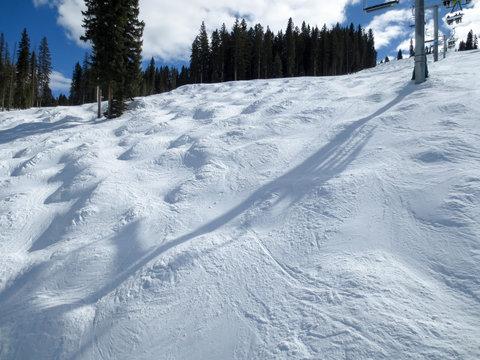 Moguls under chair lift 8 at Purgatory ski area in Colorado
