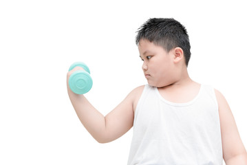 obese fat boy is doing exercises with dumbbells