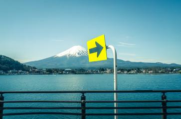 Mt.Fuji and blue sky at Kawaguchi-lake
