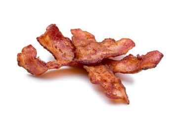 Strips of bacon on white