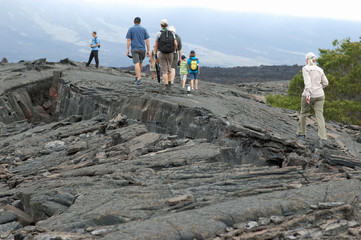hiking on new lava on Fernandina Island in the Galapagos archipelago