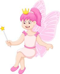cute little fairy girl cartoon sitting
