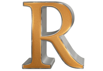 Uppercase letter R, isolated on white, 3D illustration