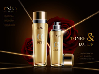 Rose lotion and toner ads