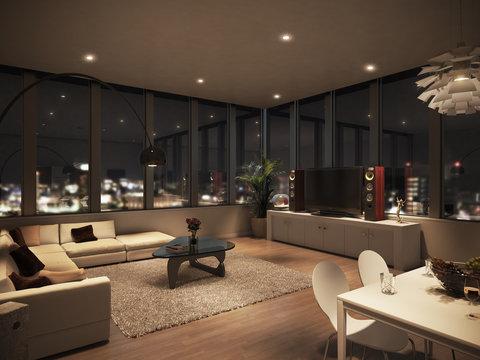 タワーマンション condominium ペントハウス 夜