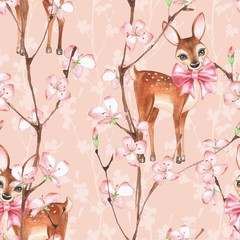 Cherry blossom and fawns. Watercolor seamless floral pattern 2