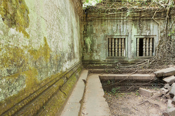 Buddhist temple in ruins in Cambodia Beng Melea