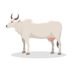 Cartoon cow farm animal vector illustration.