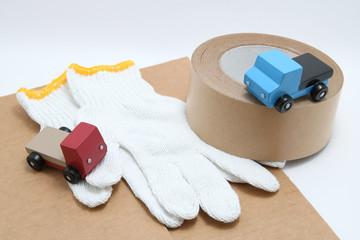 引っ越しイメージ トラック 段ボール ガムテープ