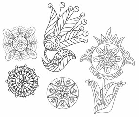 Vector black illustration of abstract flowers and symbols of nature for coloring, boho art therapy, zen-doodling