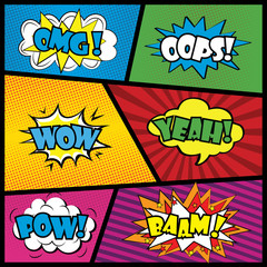 Comics speech bubble with expressions stickers set