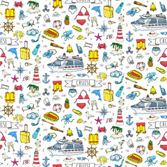 Seamless pattern Hand drawn doodle Cruise vacation icons set Vector illustration summer adventure emblem collection Cartoon concept element Sea symbol Marine concept with Ship Summertime Elements Boat
