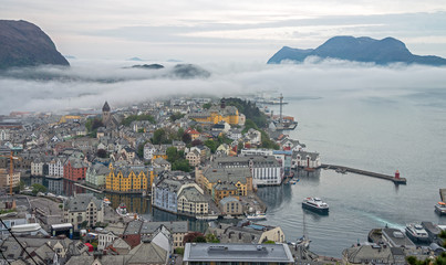 Alesund town with fog in the morning, Norway.