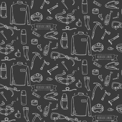 Seamless pattern Hand drawn doodle Mountain Climbing icons set. Vector illustration. Mountaineering equipment collection. Cartoon sketch elements for trekking, hiking, tourism, expedition, camping