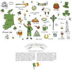 Hand drawn doodle Happy St. Patrick's Day set. Ireland icons. Vector illustration Sketchy Irish traditional food icons elements Flag Map Celtic Cross Knot Castle Leprechaun Shamrock Harp Pot of gold