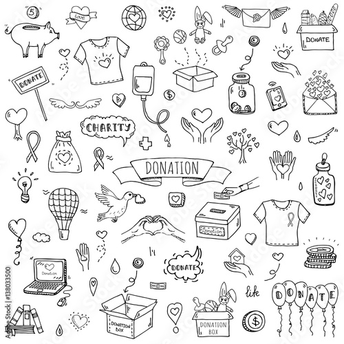 Hand Drawn Doodle Donation Icons Set Vector Illustration Charity